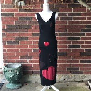 Moschino Jeans black dress w/sequin hearts
